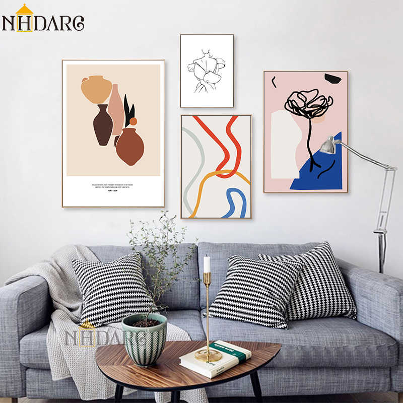 Nordic Abstract Retro Fashion Modern Line Sketch Posters and Prints Wall Art Canvas Pictures For Home Decor Living Room Decor