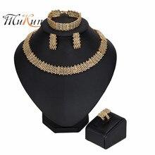 MUKUN 2019 Nigerian Wedding woman accessories jewelry set Wholesale Fashion Dubai Gold Color Jewelry Set statement