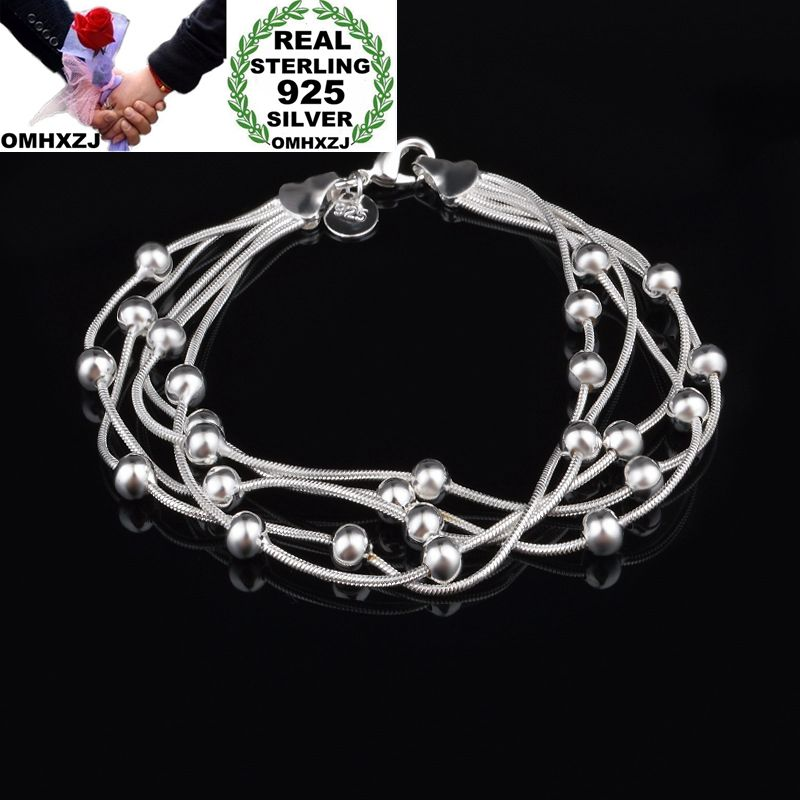 OMHXZJ Wholesale Personality Fashion OL Woman Party Gift Silver Round Beads Five Lines Chain 925 Sterling Silver Bracelet BR23OMHXZJ Wholesale Personality Fashion OL Woman Party Gift Silver Round Beads Five Lines Chain 925 Sterling Silver Bracelet BR23