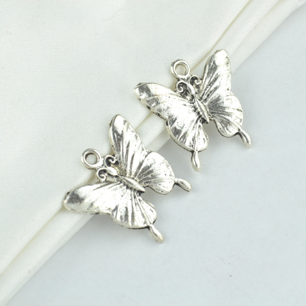 Tibetan Butterfly Beads 8 x 10mm Antique Silver 30 Pcs Art Hobby DIY Jewellery