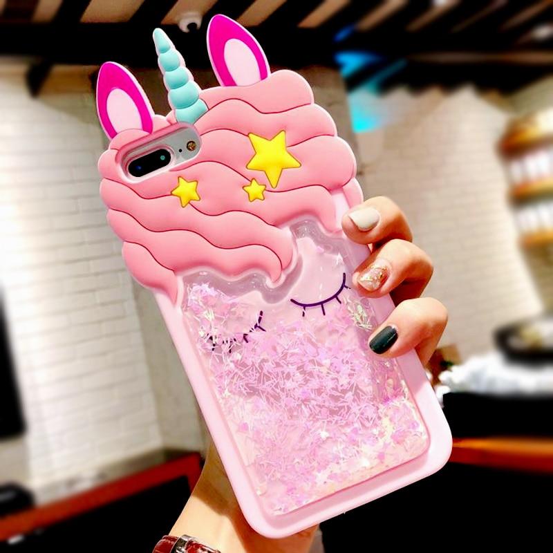 3D Cartoon Pink Quicksand Unicorn Soft Silicone Liquid Stars Case for Iphone 7 Plus 8 6 6S plus 5 S 5S SE XS Max XR X Phone Case (2)
