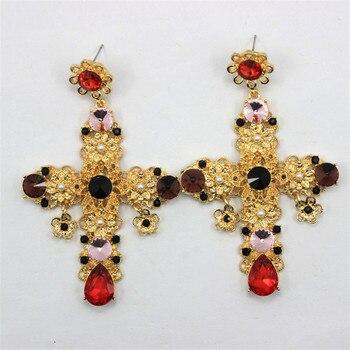 1362cc4ea6fc 2016 moda barroca grandes pendientes de Cruz negro rojo cristal exageración  colgante joyería pendiente declaración mujer regalo