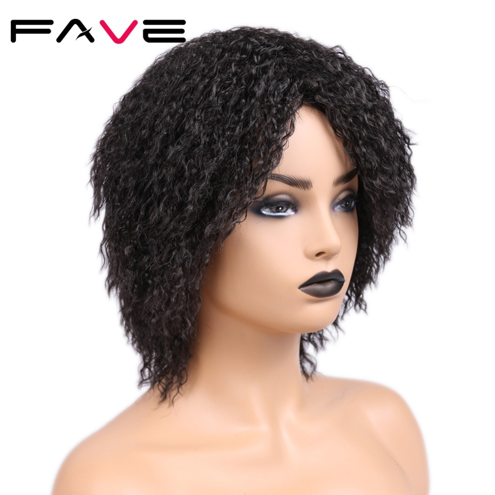 Image 4 - FAVE 12 Inches  Short Afro Curly Synthetic Wig Natural Black For Black Women High Temperature Fiber Cosplay Fashion WigsSynthetic None-Lace  Wigs   -
