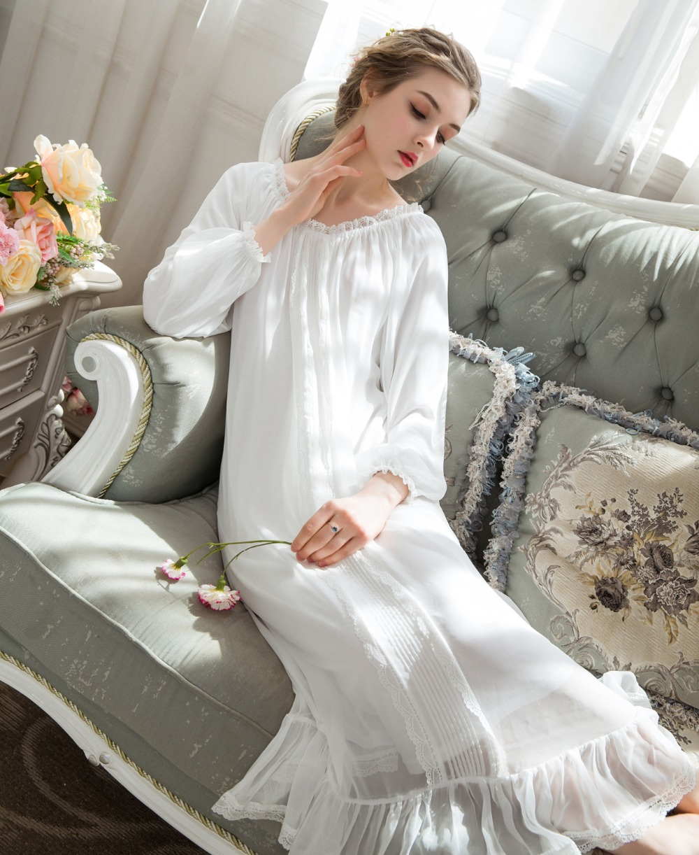 Women Sleepwear Plus Size Modal Chiffon Sleeping Dress Home NightwearLadies   Nightgowns     Sleepshirts   Lady Long Nightdress 0287#