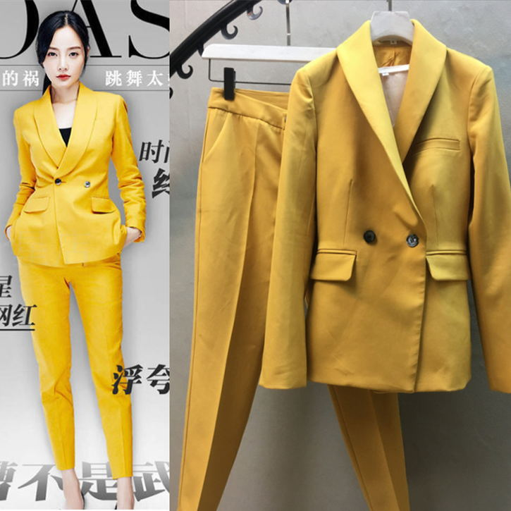 Fashion  yellow suit suit Spring 2018 new female small suit jacket tide nine feet pants two-piece/set