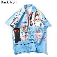 Dark Icon 낙서 셔츠 남자 여름 해변 남자 셔츠 짧은 소매 2019 새로운 레트로 셔츠 남자 Streetwear 옷