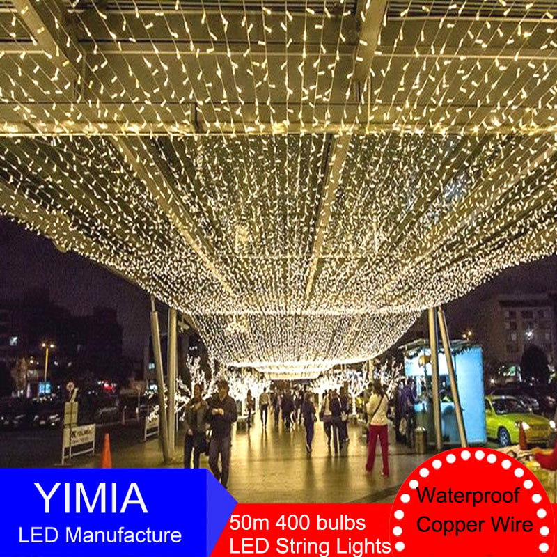 50m 400 LED String Fairy Lights Guirlande New Year Christmas lights Outdoor Holiday Garlands Party Garden Wedding Decorations yeduo woman sexy apron new year christmas decorations