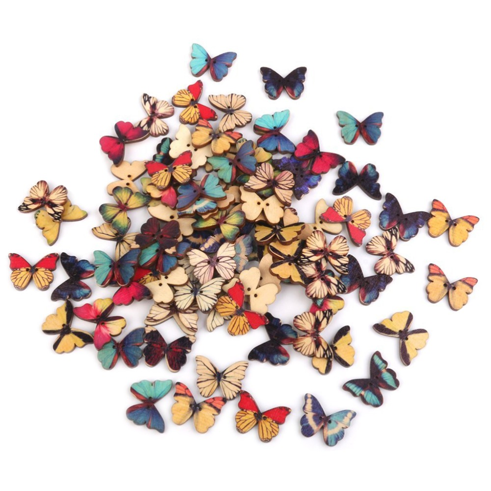 100pcs 2 Holes Mixed Butterfly Wooden Button for Sewing Scrapbooking DIY Christmas Decorations for Home Wedding Favors Craft