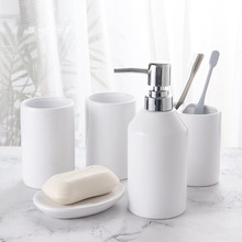 5PCS Ceramic Bathroom Washing sets Soap Dispenser 5 Color Soap Dish Toothbrush holder Shampoo Dispenser Full set elegant Design newest 5 pcs resin bathroom accessories sets lotion dispenser toothbrush holder soap dish 2 tumbler sets 2017
