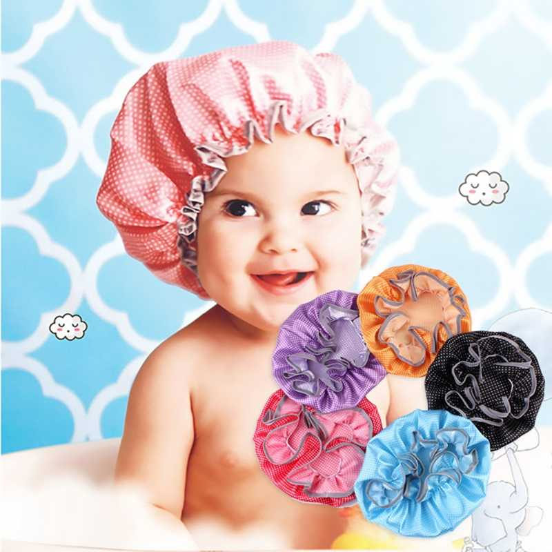 Convenient Baby Shower Cap Kids Waterproof Elastic Bath Hat Hair Wash Shield Baby Care  Baby Protecter