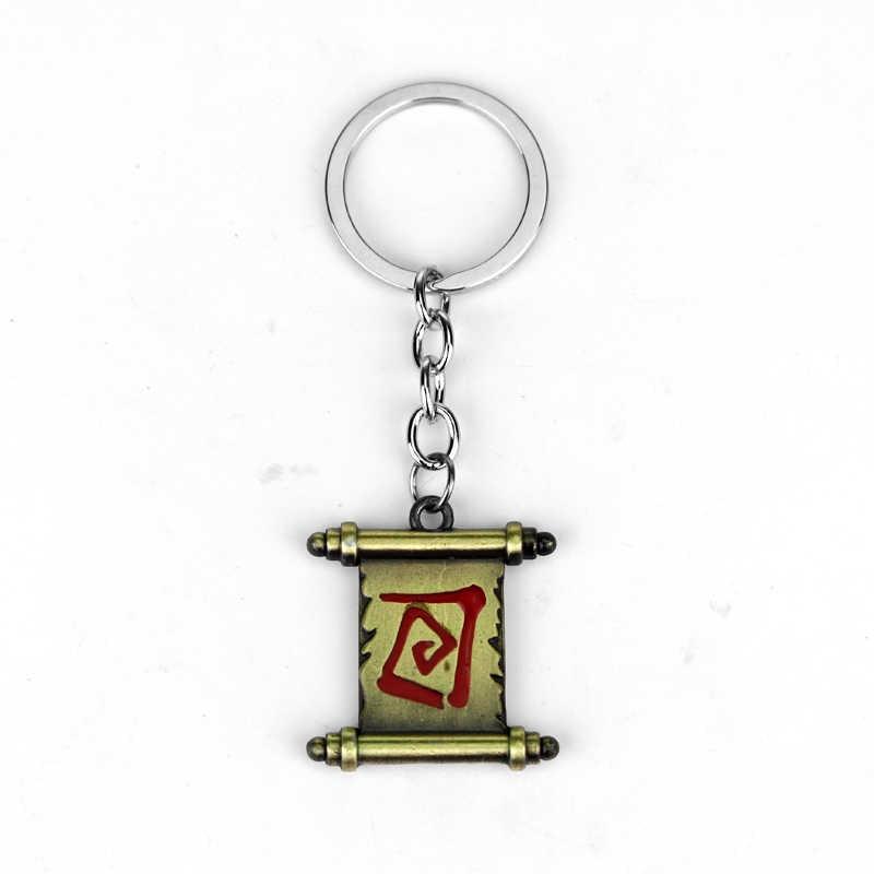 Popüler Oyun Tema Dota 2 Anahtarlık Klasik Kaydırma Şekil Metal Kolye Anahtarlık Moda Araba anahtar zincirleri Anahtarlık Için Ivır Zıvır