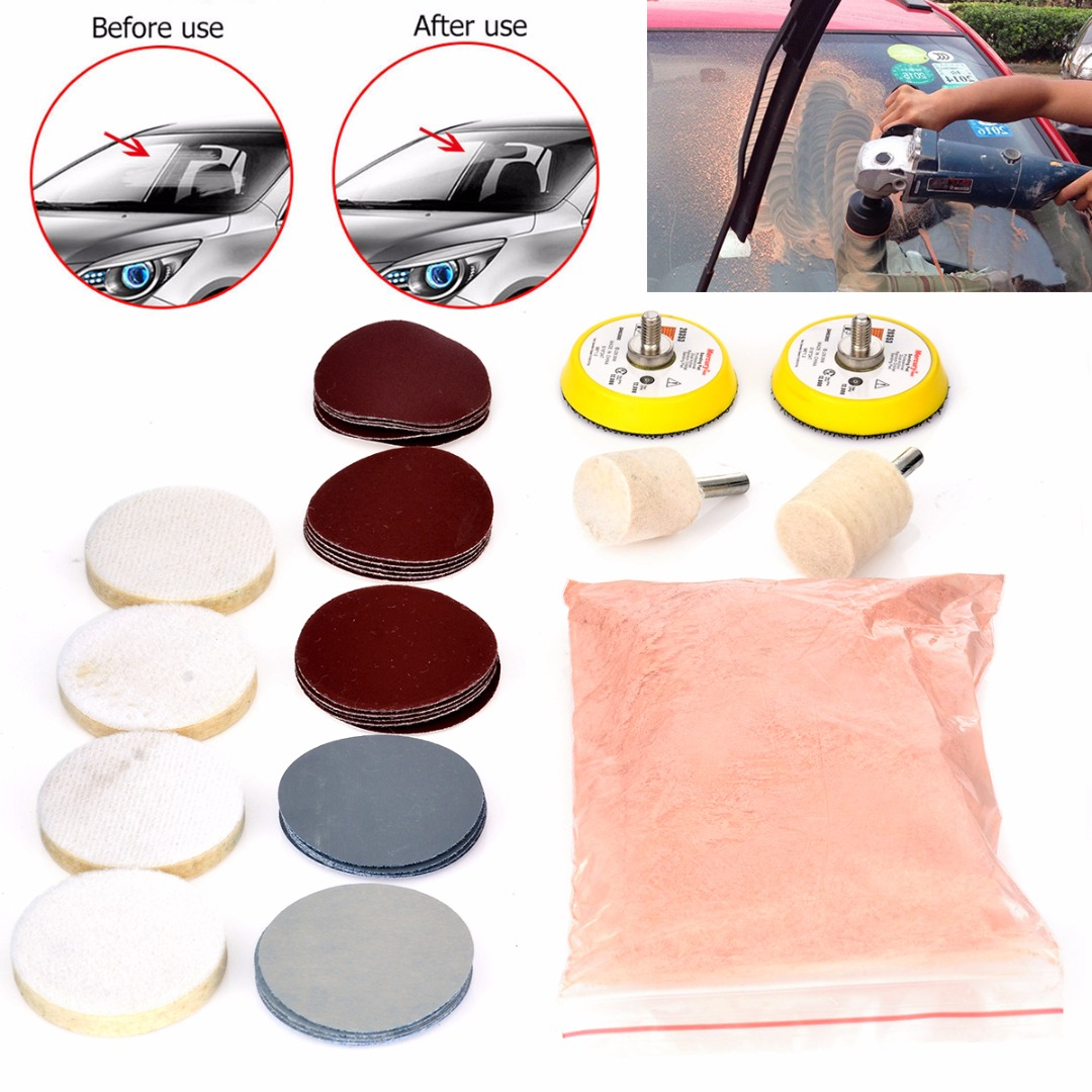 34pcs Deep Scratch Remove Glass Polishing Kit 8 OZ Cerium Oxide+ Sanding Disc + Wool Polishing Pad For Windscreen Windows Mayitr sharpener polishing wax paste metals chromium oxide green abrasive paste chromium oxide green polishing paste