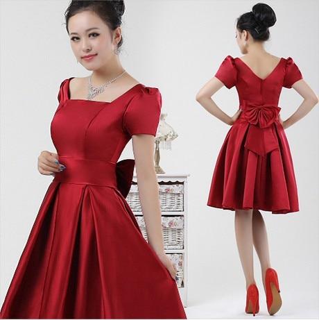 maid of bride custom plus size burgundy red pink satin short bridesmaid fuschia zipper back dress knee with sleeves