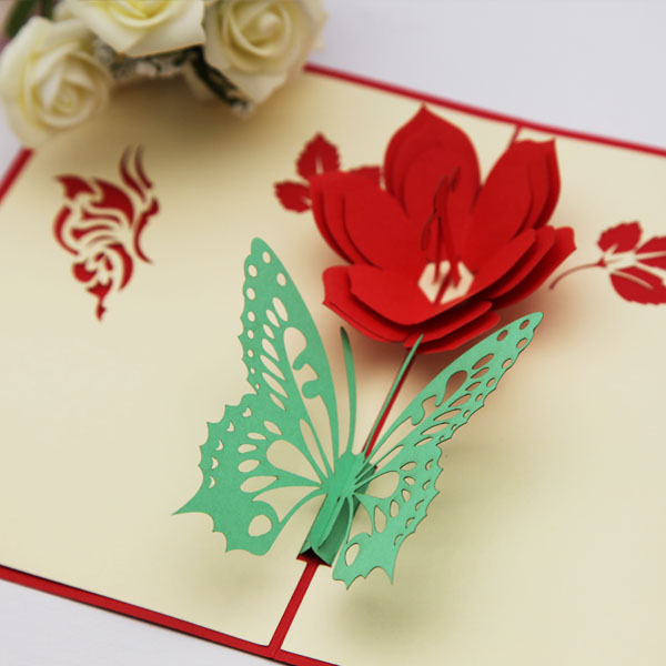 Three Dimensional Greeting Cards Handmade Paper Flowers Diy Carving