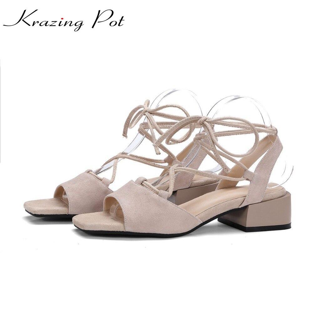 Krazing Pot shoes women square peep toe square heel women sandals genuine leather superstar high heels nude summer shoes L15