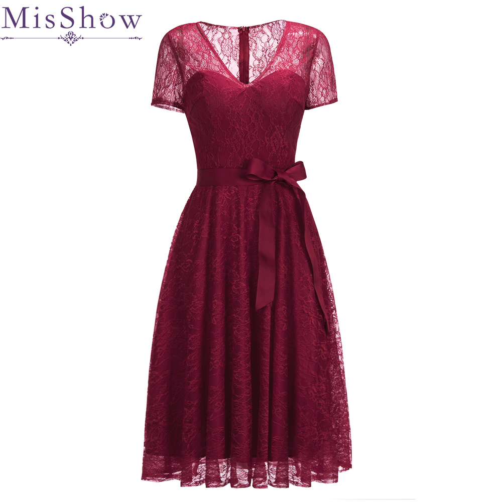 In Stock Wine Red   Cocktail     Dresses   Red   Dress   Short Sleeve Lace Homecoming   Dress   Elegant Formal   Dress   Short Prom Gown With belt