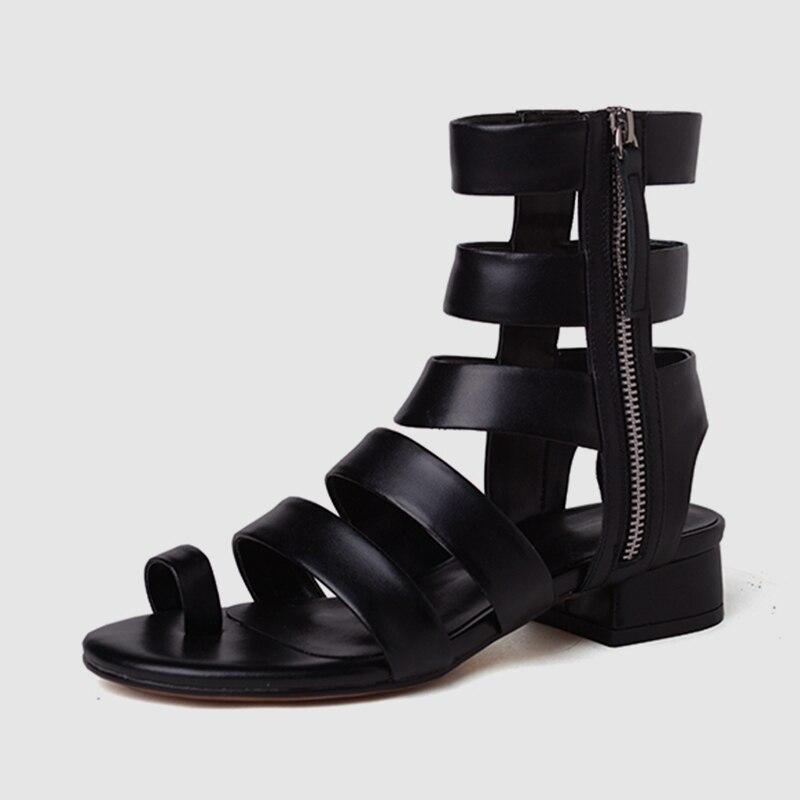 2ab89575a9750c Style Style Femmes black Med 34 Dames Tout 2019 Chaussures Talons  Spartiates Marque Short Sandales Nouveau Style Long Cuir Véritable ...