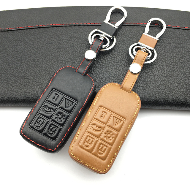High Quality Genuine Leather 6 Buttons Smart Cae Key Case Cover Holder Skin For Volvo S60/S80/V60/XC60/XC70 Keyless Entry