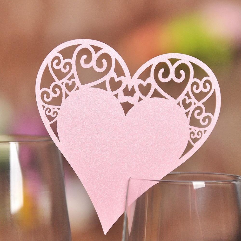 ᐃ50 unids DIY lugar tarjeta corazón Rosa Tazas vidrio de vino de la ...