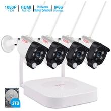 Tonton 1080P Draadloze Beveiliging Camera 2 Tb Hdd 2MP 4CH Nvr Camera IR CUT Outdoor Cctv Camera Ip Security Video surveillance Kits
