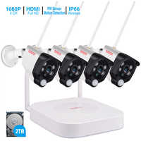 Tonton 1080P Wireless security camera 2TB HDD 2MP 4CH NVR camera IR-CUT outdoor CCTV Cameras IP security video Surveillance Kits