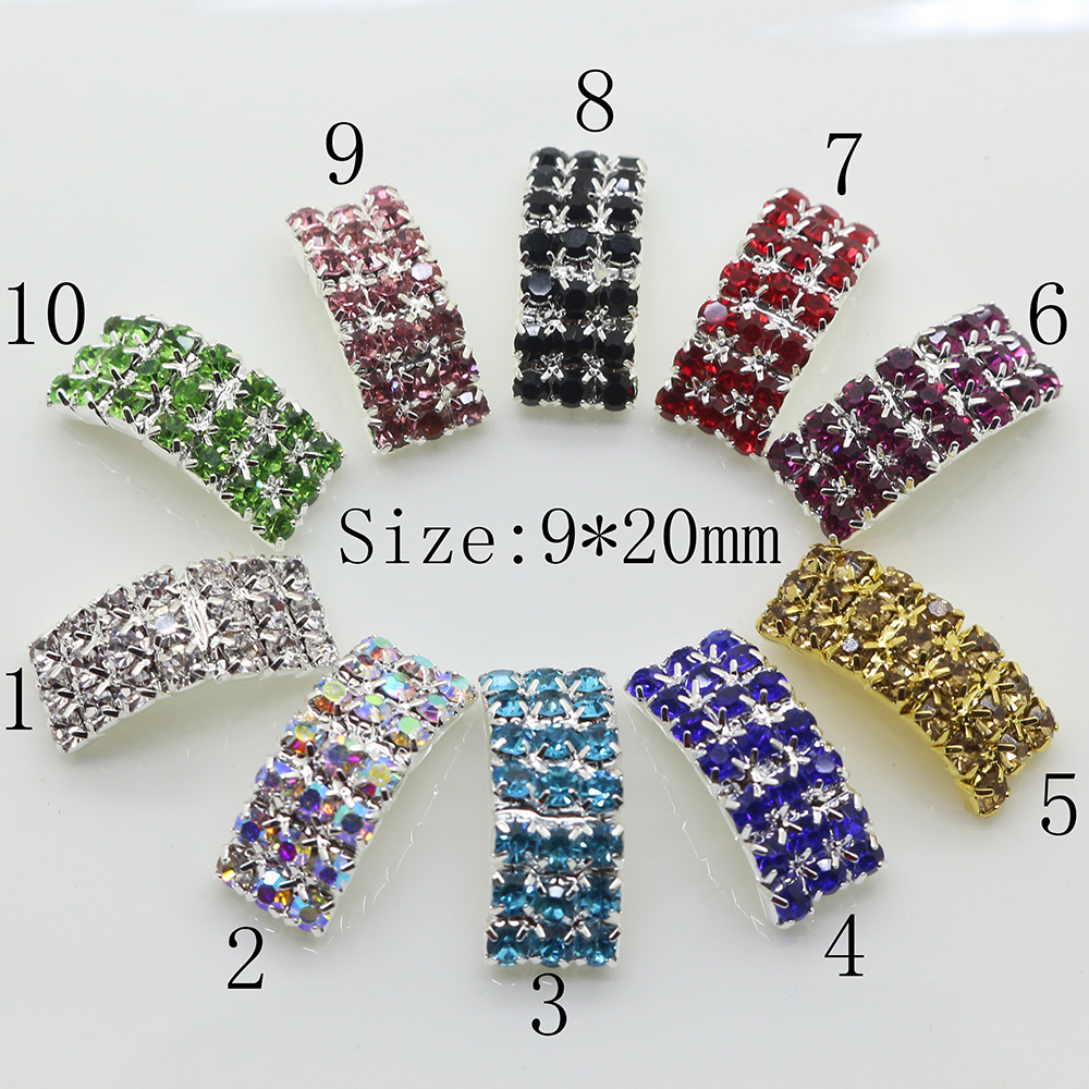 10Pcs/Set 20mm Arched Rhinestone Buckles Diamond Buttons Plated Square Invited To Wedding Ribbon Slider Free Shipping(China)