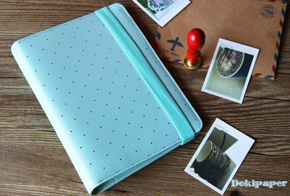 A5 Mint blue Journal Planner/Refillable planner/ Gold Polka Dot planner - Paperpop stationary store