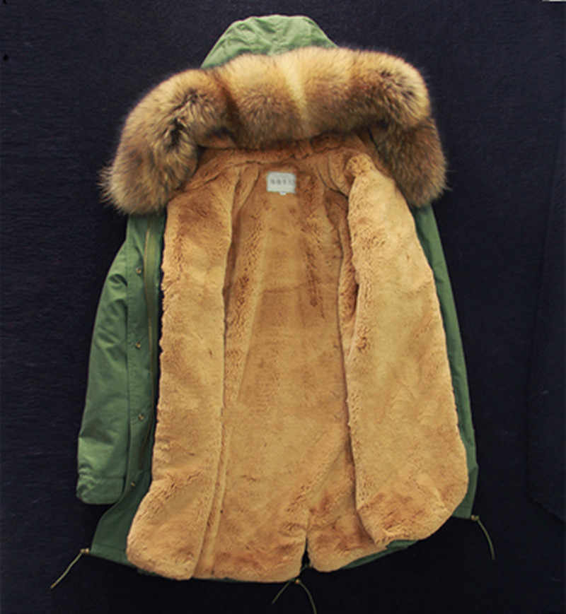 נשים אמיתי פרווה דביבון פרווה צווארון סלעית צבא ירוק מעיל ליידי ארוך Parka 2019 חדש חורף מעיל נשים של פרווה מעיילי ברדס חדש