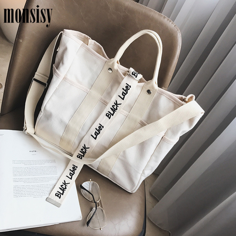 Monsisy Canvas Bags For Women 2019 Handbags Laides Shopping Bag Big Tote Student School Books Travel Beach Bag Bolsa Feminina
