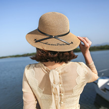 f562752a Cool Sun hat Embroidery Letter Boater Hat Summer Leather Ribbon Round Bow  Flat Top Wide Brim
