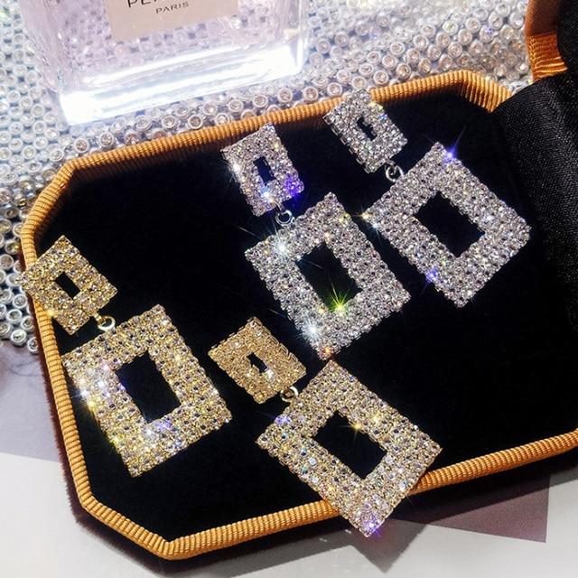 RscvonM Luxury Shining Crystal Drop Earrings Gold Silver Color Square Rhinestone Dangle Earrings for Women Wedding.jpg 640x640 - RscvonM Luxury Shining Crystal Drop Earrings Gold Silver Color Square Rhinestone Dangle Earrings for Women Wedding Party Jewelry