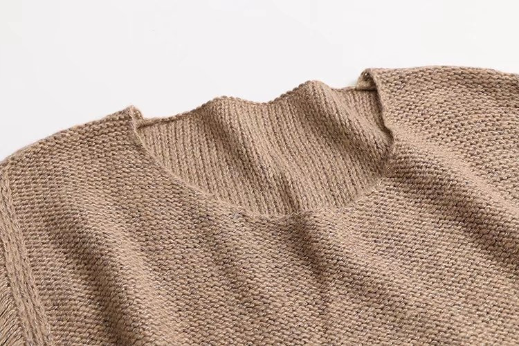 Borla Otoño Casual Mujer Oversized Suéter 2018 Punto Suelta Oscuro Largo Mujeres cuello Gris Manga caqui O Larga De PdOO16x