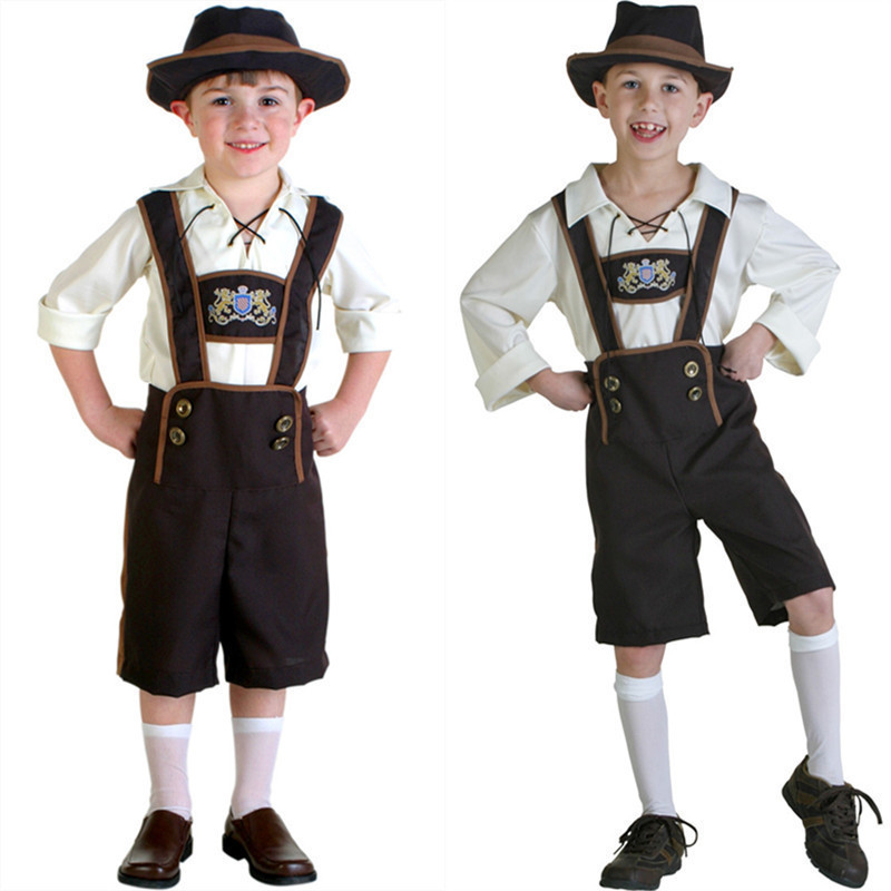 Vocole Children Boy Lederhosen Oktoberfest Costume German Bavarian Fantasia Party Fancy Dress With Hat Size S-2XL
