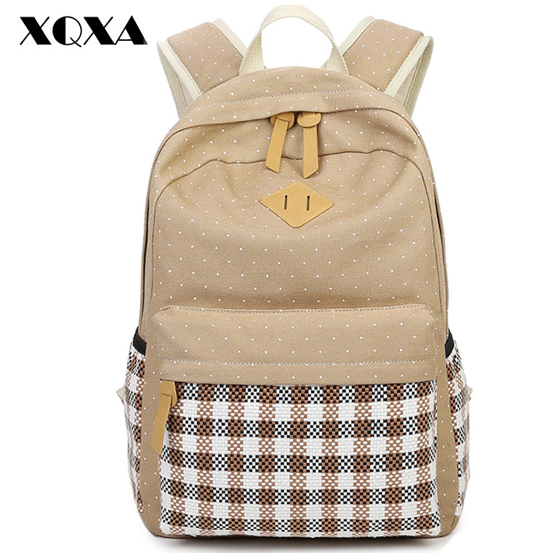 Xqxa Casual Women Backpack Canvas Bag Backpack Printing School Bags For Teenagers Girls 14