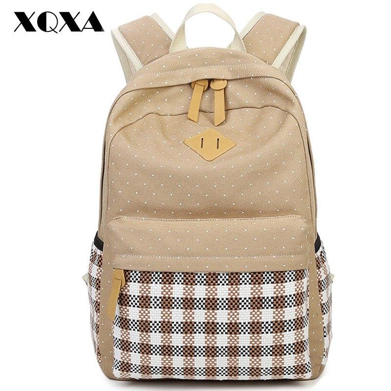 XQXA Casual font b Women b font font b Backpack b font Canvas Bag font b