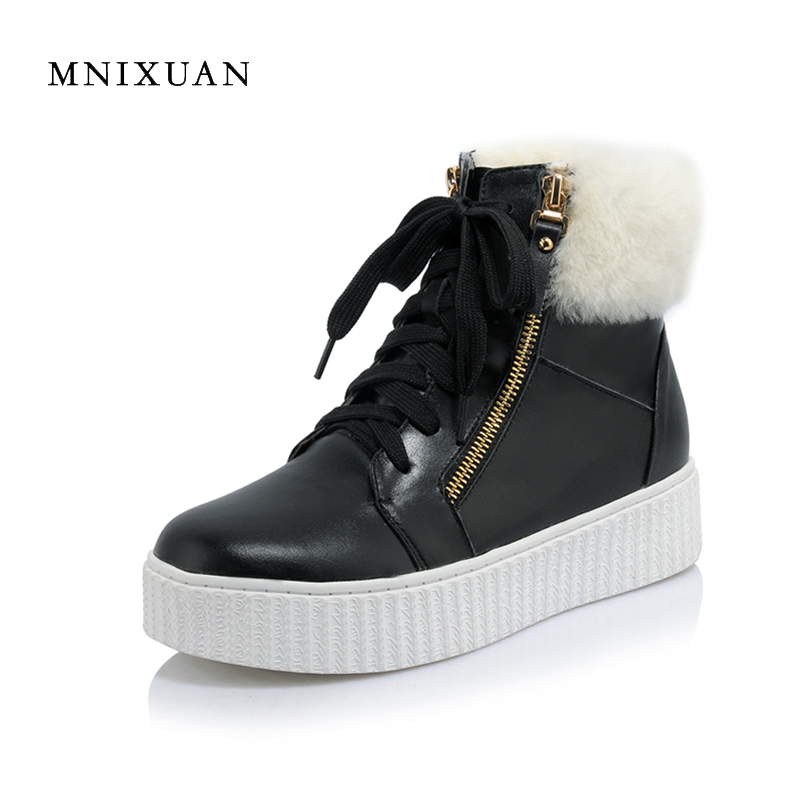 MNIXUAN women ankle boots martin snow boots 2017 winter new handmade real leather lace up platform wool plush warm ladies shoes велосипед stels navigator 380 2016