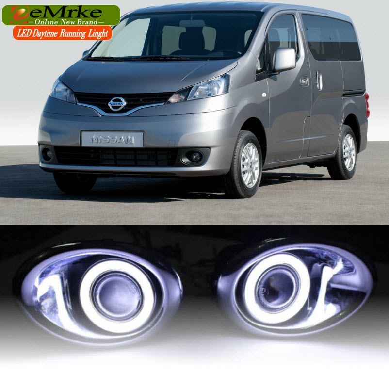 eeMrke  DRL Daytime Running Lights FOR Nissan NV200 Evalia Vanette LED Angel Eye Halogen Bulbs H11 55W Fog Lights Assembly eemrke for toyota vios yaris belta 2007 2013 led angel eye drl daytime running light halogen yellow h11 55w fog lights
