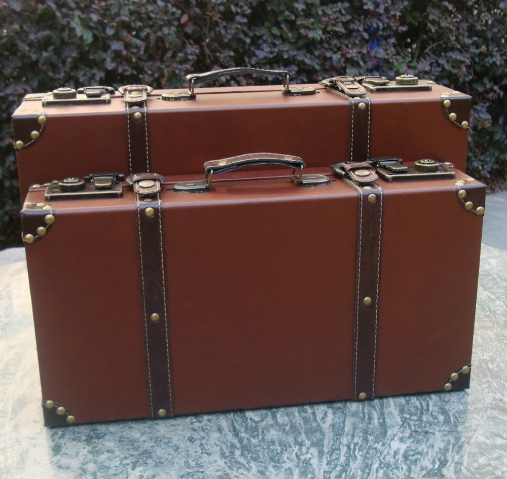Men Vintage Style Wooden Brief Case  Magic Case Film Cosplay Accessories Leather Suitcase Trunk Home Decoration
