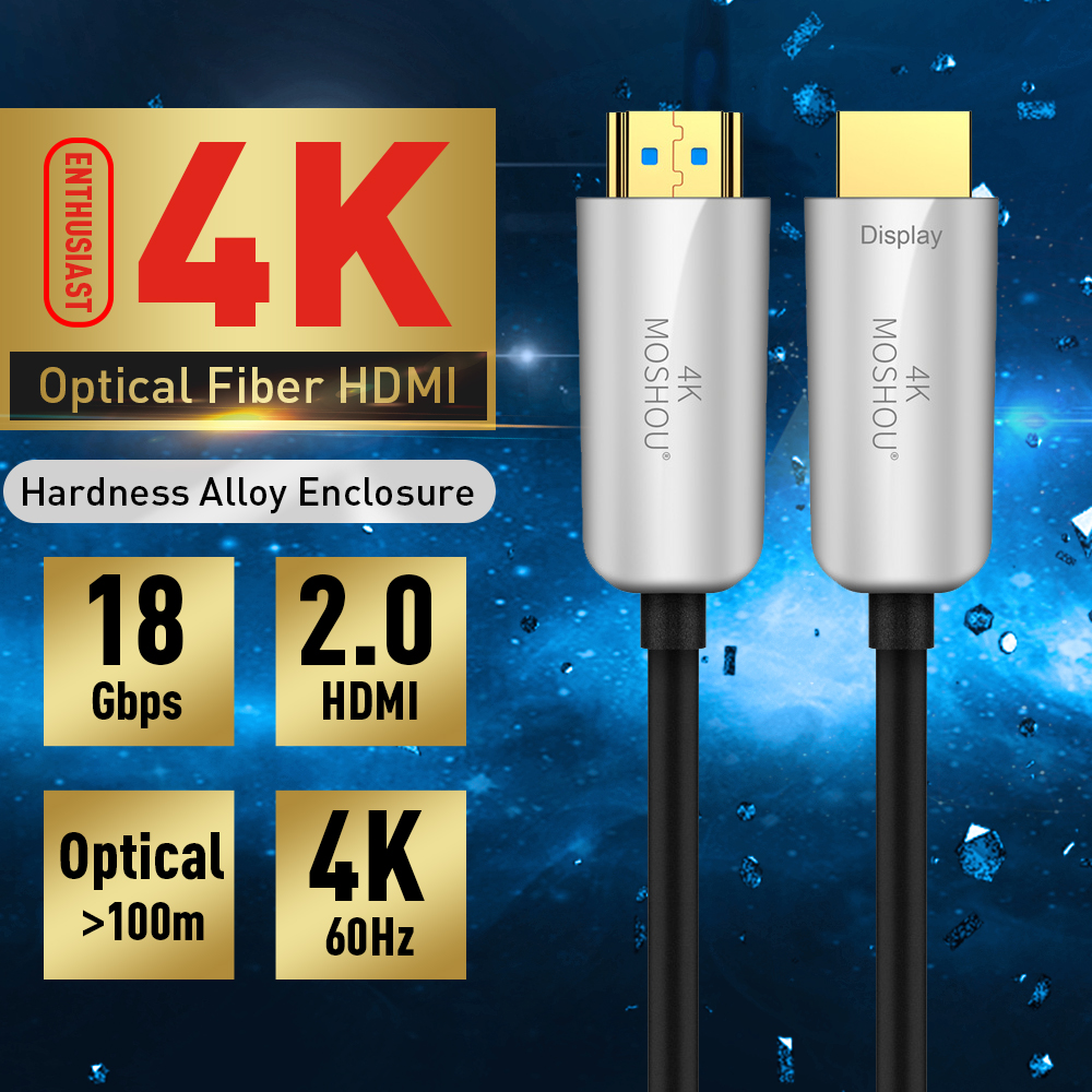 Optical Fiber HDMI TO HDMI 2.0 Cable 4K 60Hz 18Gbs with Audio & Ethernet HDMI Cord 1M 1.5M 2M for HDR TV LCD Laptop PS3 MOSHOU