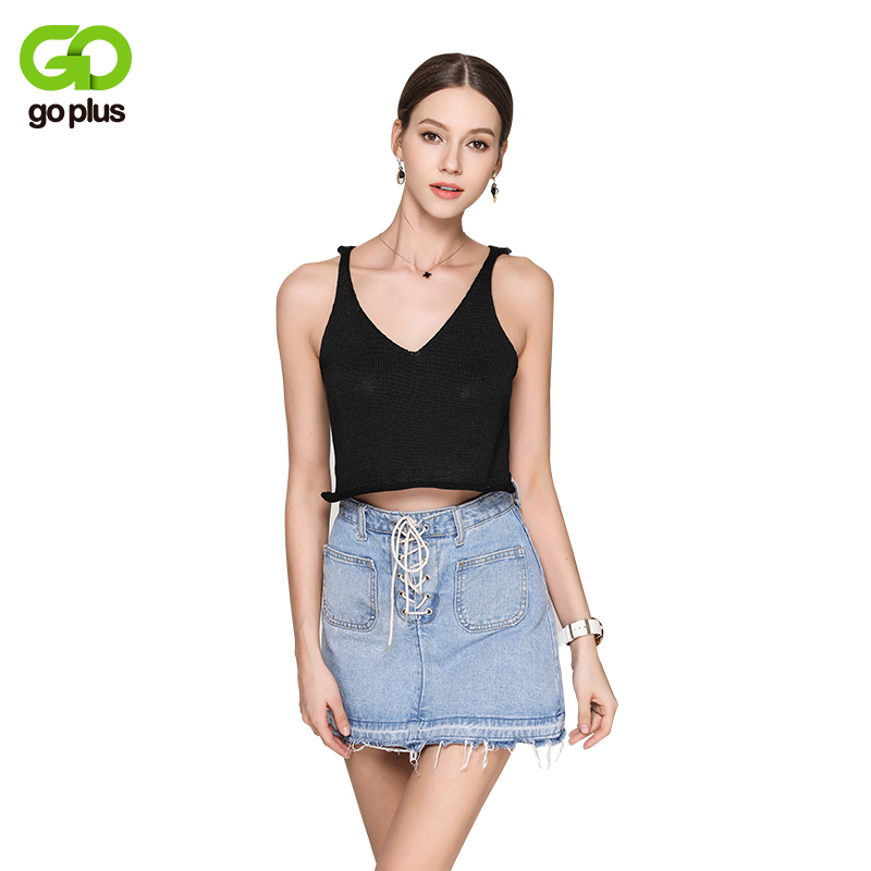 GOPLUS 2018 Sexy Summer Knitted Crop Tank Top Women V Neck Sleeveless Black T-shirt Female Plain Vest Casual Camis streetwear