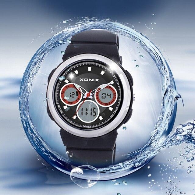 Новый 2016 100 м водонепроницаемый кварцевые часы мужчины, Аналого-цифровой спортивные наручные мужские, Relogio цифровой masculino