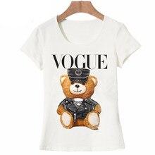 e8c5780ea 2019 nowa moda lato damska krótki rękaw milutkie Vogue policji misia T-shirt  dziewczyna białe