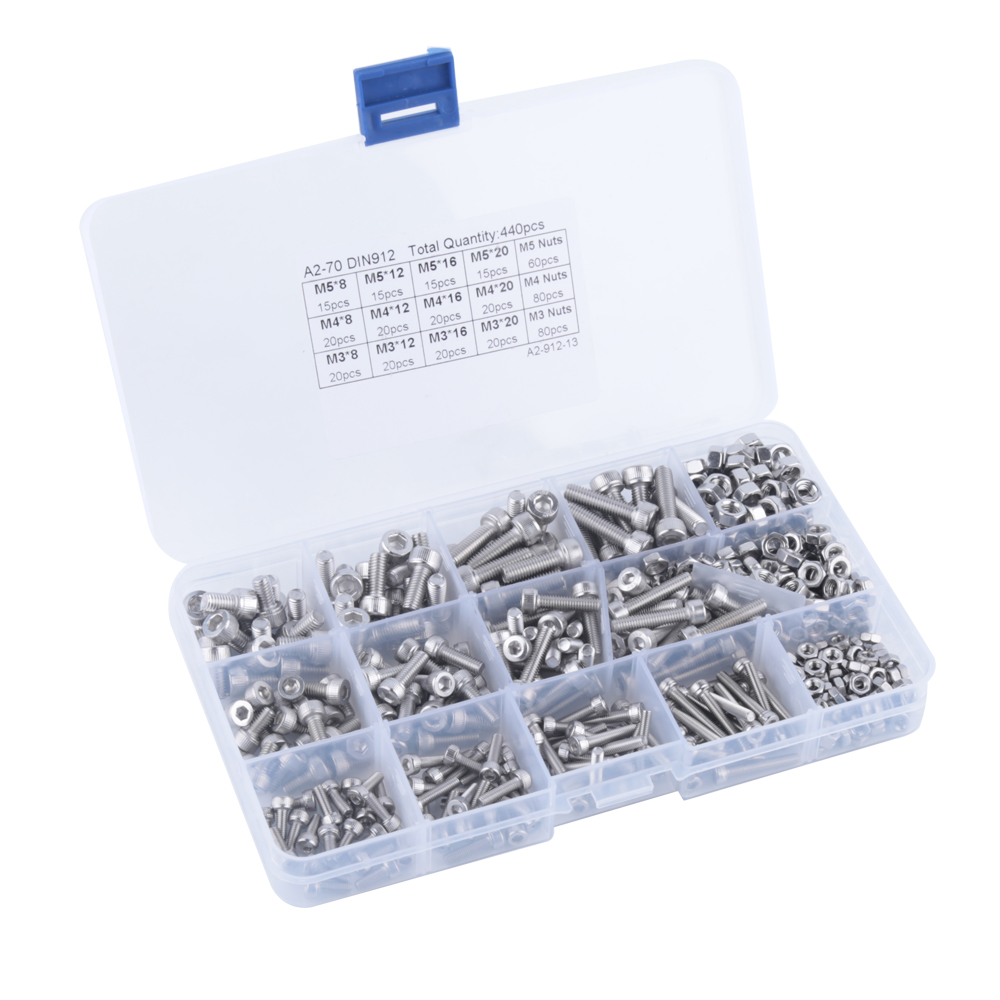 440pcs M3 M4 M5 304 Stainless Steel Hex Socket Button Head Bolts Screws Nuts Kit 1pc m5 304 stainless steel chain ratchet tie fasten bolts hook