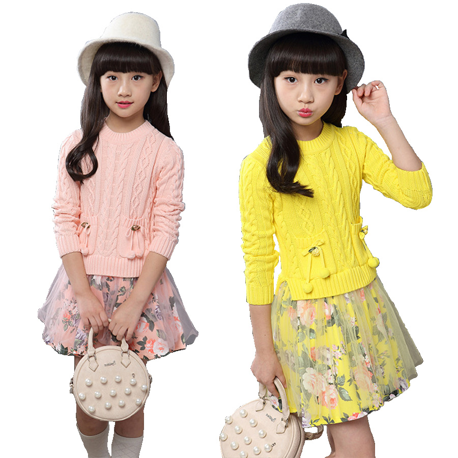 Beautiful crochet dresses for kids trendy - Winter Girls Dress Pertty Print Floral Long Sleeve Warm Knitted Dresses For Children European Princess Crochet Dress Kids Autumn