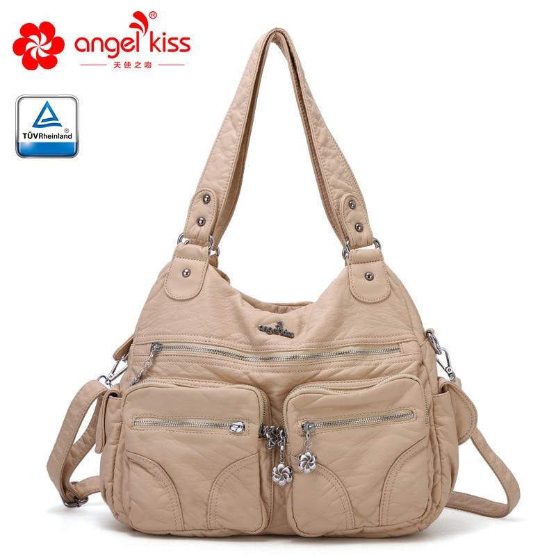 Haute qualité Angelkiss marque doux lavé PU cuir sac à main sac à main dames fourre-tout sac à bandoulière femmes sac quotidien