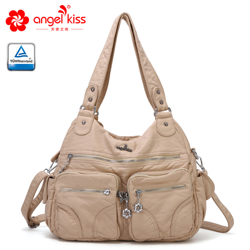 High Quality Angelkiss Brand Soft Washed PU Leather Handbag Purse Ladies Tote Shoulder Bag Women Daily BagHigh Quality Angelkiss Brand Soft Washed PU Leather Handbag Purse Ladies Tote Shoulder Bag Women Daily Bag