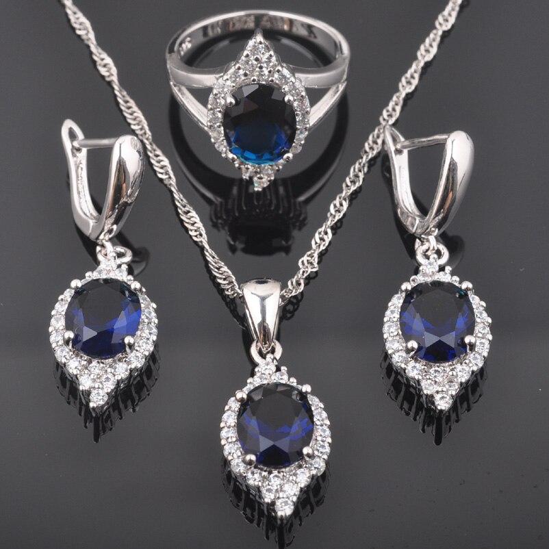 Fahoyo Mode Blau Zirkonia Frauen 925 Sterling Silber Schmuck Sets Ohrringe/anhänger/halskette/ringe Qz0514 Schmuck & Zubehör