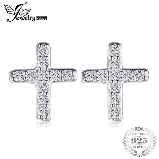 JewelryPalace Cubic Zirconia Cross Earrings For Women Genuine 925 Sterling Silve