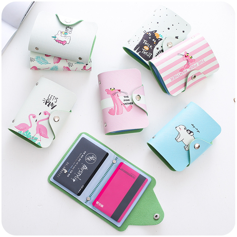 Leather Credit Card Holder Card Case Student Cute Cartoon ID Cards Women Wallet Passport Business Card Holder Book Protector