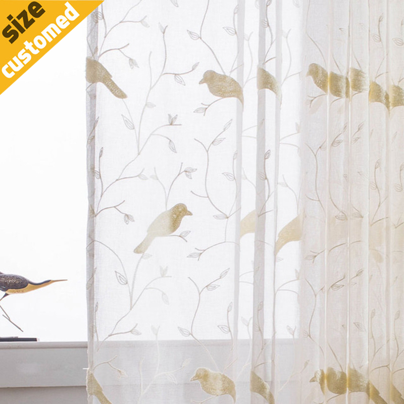 Embroidered bird modern volie curtain 100 linen fabric for Painting sheer curtains